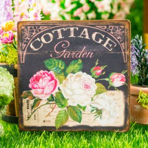 Cottage Garden White and Pink Roses Chalkboard Floral Sign