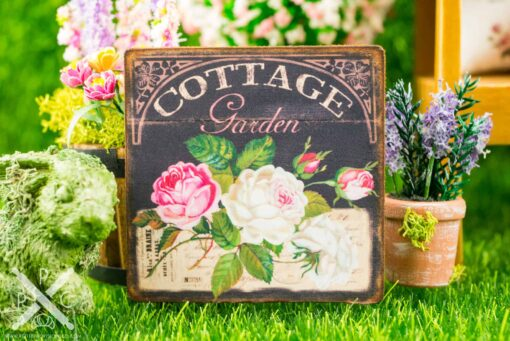Dollhouse Miniature Cottage Garden White & Pink Roses Chalkboard Floral Sign
