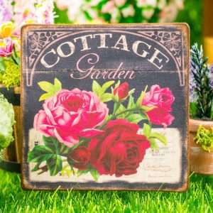 Cottage Garden Red and Pink Roses Chalkboard Floral Sign