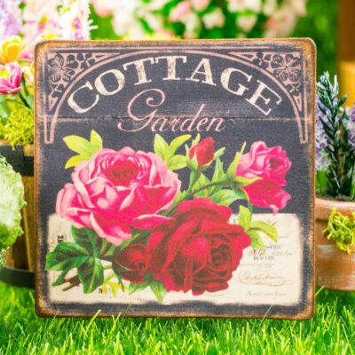 Dollhouse Miniature Cottage Garden Red and Pink Roses Chalkboard Floral Sign