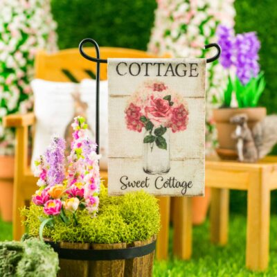 Dollhouse Miniature Cottage Sweet Cottage Spring Garden Flag