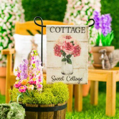 Dollhouse Miniature Cottage Sweet Cottage Spring Garden Flag