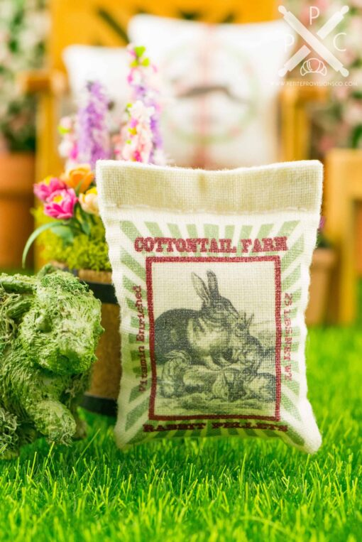 Dollhouse Miniature Cottontail Farm Rabbit Pellets Feed Bag