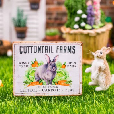 Dollhouse Miniature Cottontail Farms Sign - Decorative Easter Sign - 1:12 Dollhouse Miniature Spring Sign