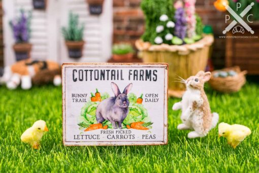 Dollhouse Miniature Cottontail Farms Sign - Decorative Easter Sign - 1:12 Dollhouse Miniature Spring Sign