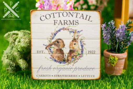 Dollhouse Miniature Cottontail Farms Sign