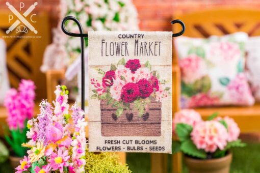 Dollhouse Miniature Country Flower Market Spring Garden Flag - 1:12 Dollhouse Miniature Garden Flag