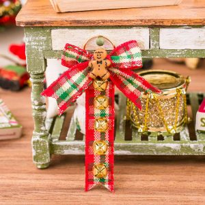 Country Plaid Sleigh Bell Hanger