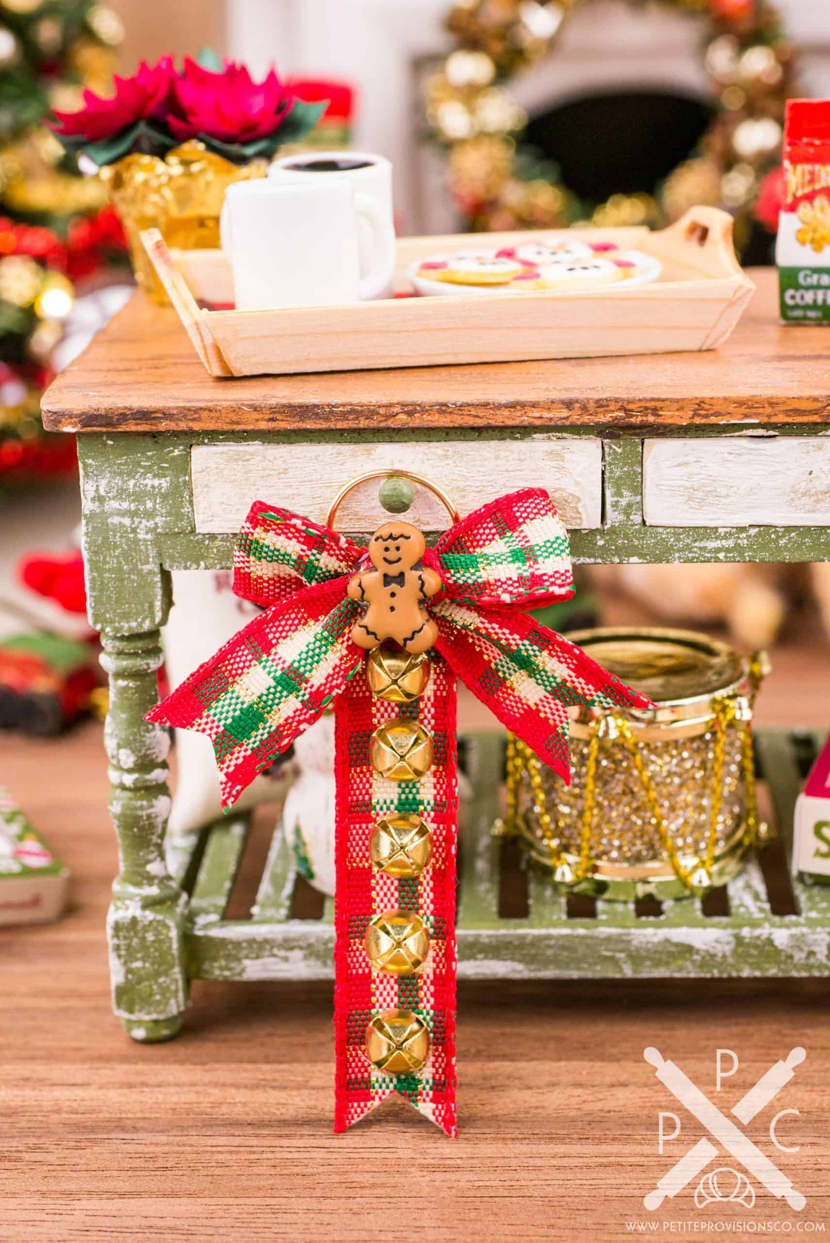Red Bow Miniature Dollhouse Christmas Wreath with Gold Bell