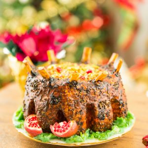 Crown Roast of Pork with Cranberry Stuffing and Pomegranates