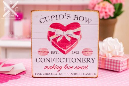 Dollhouse Miniature Cupid's Bow Confectionery Valentine's Day Sign - 1:12 Dollhouse Miniature Valentine's Day Sign