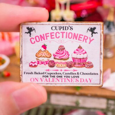 Dollhouse Miniature Cupid's Confectionery Valentine's Day Sign - 1:12 Dollhouse Miniature Valentine's Day Sign
