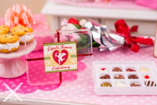 Dollhouse Miniature Cupid's Famous Confectionery Gourmet Chocolate Box - 1:12 Dollhouse Miniature Chocolates