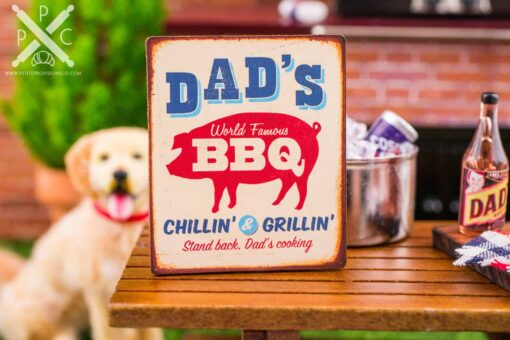 Dollhouse Miniature Dad's World Famous BBQ Sign - Father's Day Sign - 1:12 Dollhouse Miniature Sign