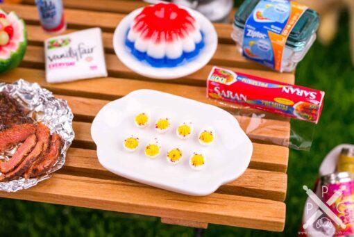 Dollhouse Miniature Platter of Deviled Eggs - 1:12 Dollhouse Miniature 4th of July Food