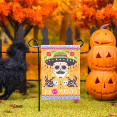 Dollhouse Miniature Day of the Dead Garden Flag - Dia de Los Muertos - 1:12 Dollhouse Miniature Garden Flag