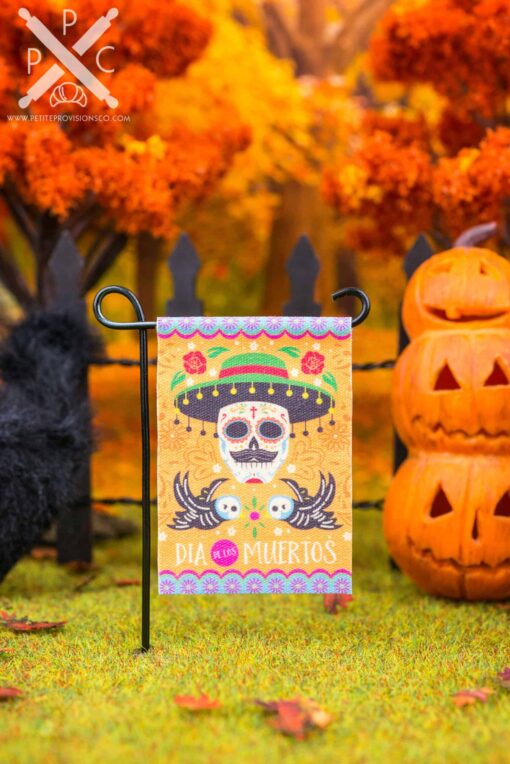 Dollhouse Miniature Day of the Dead Garden Flag - Dia de Los Muertos - 1:12 Dollhouse Miniature Garden Flag