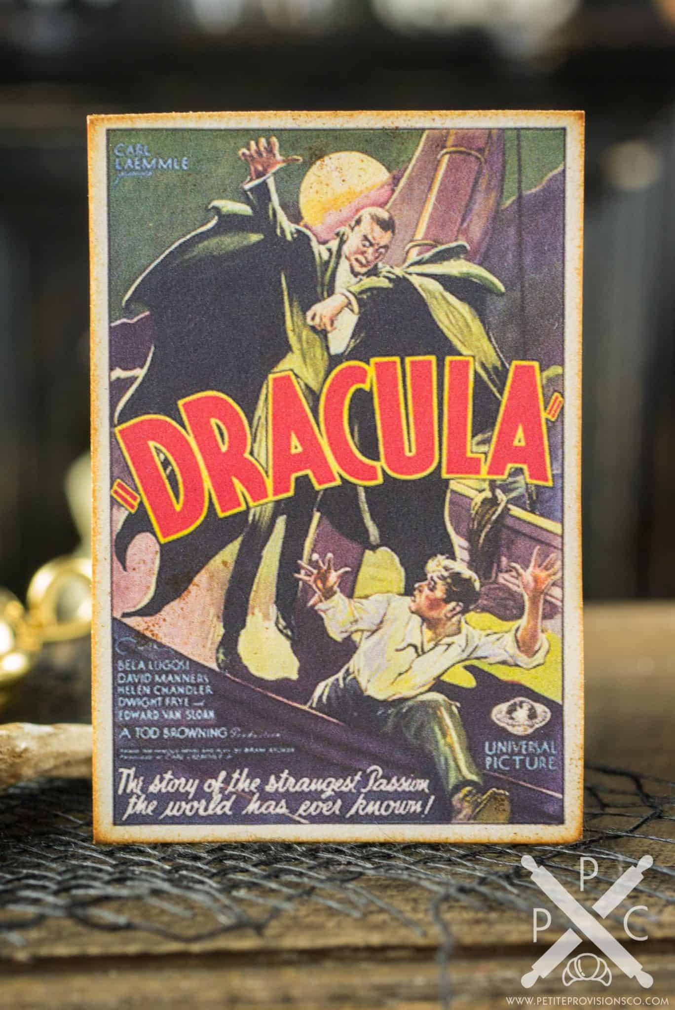 Dollhouse Miniature Vintage Horror Movie Poster Decorative