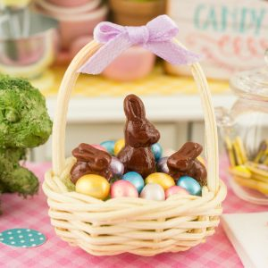 Easter Basket with Metallic Easter Eggs and Chocolate Bunnies – 1:12 Dollhouse Miniature