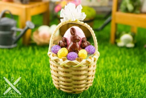 Dollhouse Miniature Easter Basket with Glitter Easter Eggs and Chocolate Bunnies - Pink Easter Egg
