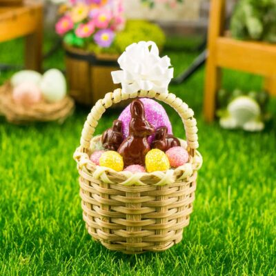 Dollhouse Miniature Easter Basket with Glitter Easter Eggs and Chocolate Bunnies - Purple Easter Egg