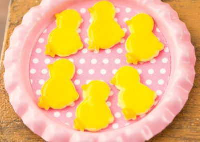 Easter Chicks Iced Cookies on Tray