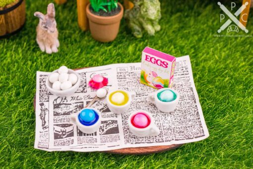 Dollhouse Miniature Easter Egg Coloring Set - 1:12 Dollhouse Miniature Easter Decorations
