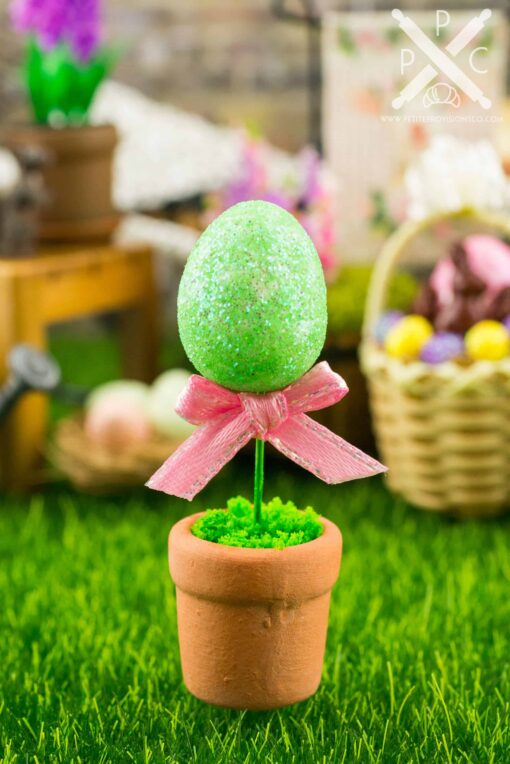 Dollhouse Miniature Glitter Easter Egg Topiary