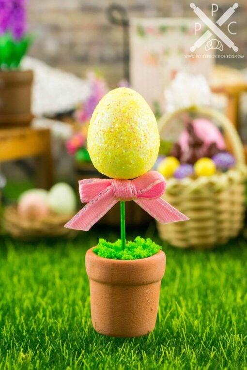 Dollhouse Miniature Glitter Easter Egg Topiary