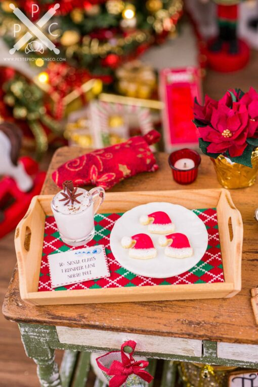 Dollhouse Miniature Eggnog and Santa Hat Cookies on Wood Tray - 1:12 Dollhouse Miniature Christmas - Christmas Miniatures