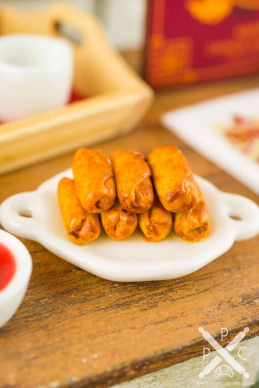 Dollhouse Miniature Egg Rolls with Dipping Sauce