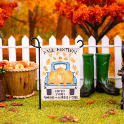 Dollhouse Miniature Fall Festival Garden Flag - 1:12 Dollhouse Miniature Garden Flag