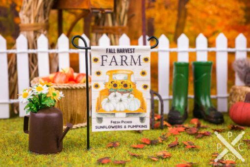 Dollhouse Miniature Fall Harvest Farm Garden Flag - 1:12 Dollhouse Miniature Garden Flag