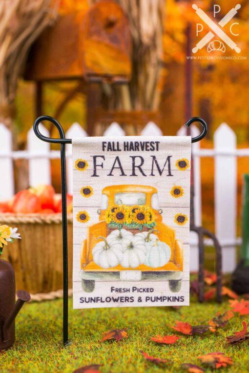 Dollhouse Miniature Fall Harvest Farm Garden Flag - 1:12 Dollhouse Miniature Garden Flag