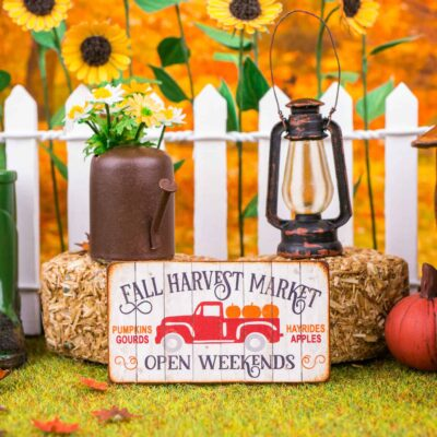 Dollhouse Miniature Fall Harvest Market Sign - Decorative Autumn Sign - 1:12 Dollhouse Miniature Decor