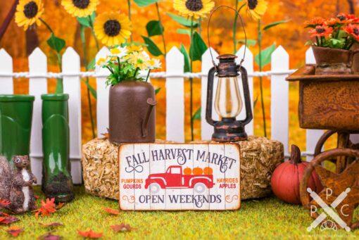 Dollhouse Miniature Fall Harvest Market Sign - Decorative Autumn Sign - 1:12 Dollhouse Miniature Decor