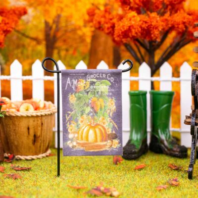 Dollhouse Miniature Fall Harvest Vegetables Garden Flag - 1:12 Dollhouse Miniature Garden Flag