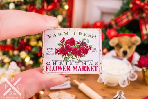 Dollhouse Miniature Farm Fresh Christmas Flower Market Sign - 1:12 Dollhouse Miniature Christmas Sign