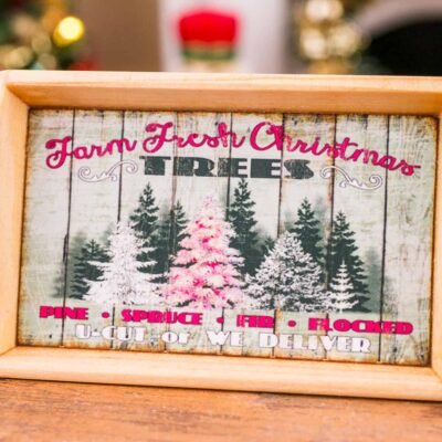 Dollhouse Miniature Farm Fresh Christmas Trees Wood Tray - 1:12 Dollhouse Miniature Christmas Decoration - Christmas Miniatures