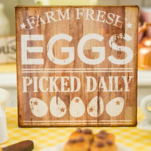 Rustic Wood Farm Fresh Eggs Sign – Decorative Farmhouse Sign – 1:12 Dollhouse Miniature