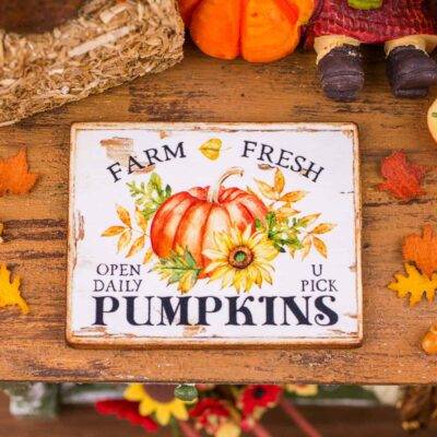 Dollhouse Miniature Farm Fresh Pumpkins Sign - Decorative Autumn Sign - 1:12 Dollhouse Miniature Fall Sign
