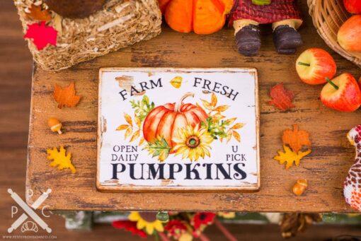 Dollhouse Miniature Farm Fresh Pumpkins Sign - Decorative Autumn Sign - 1:12 Dollhouse Miniature Fall Sign