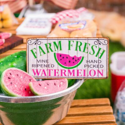 Dollhouse Miniature Farm Fresh Watermelon Sign - 1:12 Dollhouse Miniature Sign