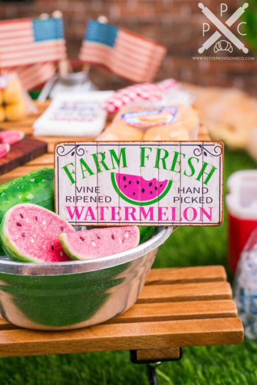 Dollhouse Miniature Farm Fresh Watermelon Sign - 1:12 Dollhouse Miniature Sign