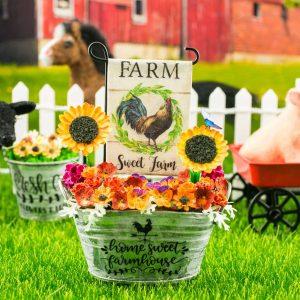 Farm Sweet Farm Rooster Garden Flag