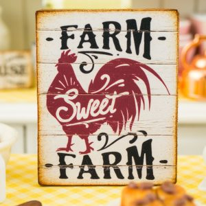 Farm Sweet Farm Sign – Decorative Farmhouse Sign – 1:12 Dollhouse Miniature