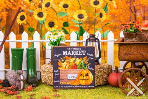 Dollhouse Miniature Farmers Market Pumpkins Sign - Decorative Autumn Sign - 1:12 Dollhouse Miniature Decor