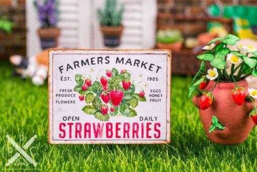 Dollhouse Miniature Farmers Market Strawberries Sign - Decorative Spring Sign - 1:12 Dollhouse Miniature Garden Sign