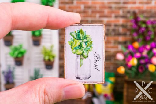 Dollhouse Miniature Farmhouse Basil Sign - Decorative Spring Sign - 1:12 Dollhouse Miniature Garden Sign
