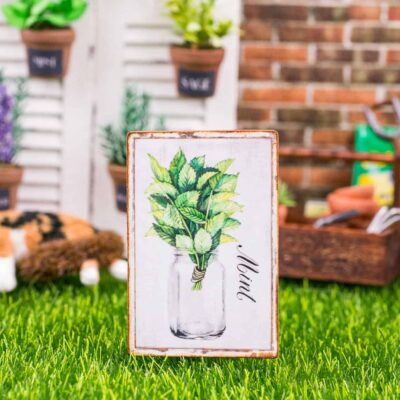 Dollhouse Miniature Farmhouse Mint Sign - Decorative Spring Sign - 1:12 Dollhouse Miniature Garden Sign